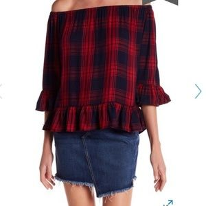 BeachLunchLounge off the shoulder plaid blouse